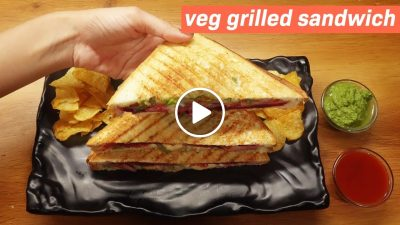 Veg Grill Sandwich Recipe | Vegetable Cheese Grilled Sandwich Recipe - Very Easy